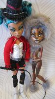 Monster Circus - Ring Master and Lion ooak customs by midnightstrinkets