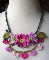 .Crochet Pink Mix Necklace by meekssandygirl
