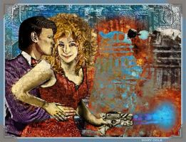 River Song and the Doctor - Daleks by evisionarts