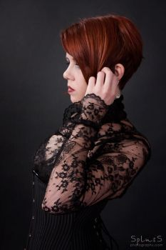 portrait in black lace by petitchatperdu