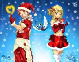 Natsu and Lucy A merry christmas wishes you by NatsuNalu