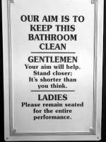 Bathroom signs: Our aim by danceafterdark