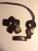 Coconut shell buttons and pendant by jazzyjazz666