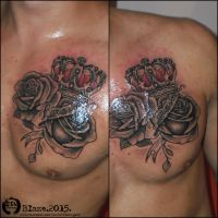 Roses and crown tattoo by bLazeovsKy