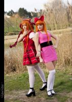 Blossom and Berzerk's cosplay from PowerPuff Girls by Miho-Shizue