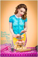 Vintage Cupcake Bodypaint 1940s painted clothes by Bodypaintingbycatdot
