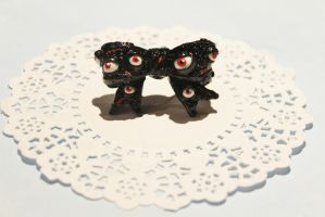 Polymer Clay Zombified Eye Bow Ring by CharmStop