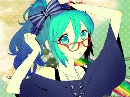 glasses cutie miku wallpaper by Mitche27
