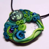 Day Dreamer Mixed Media Polymer Clay Pendant by Create-A-Pendant