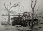 destoried panzer V (black ball pen work) by lhlclllx97