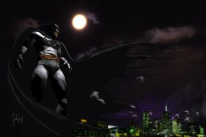 Batman above the city by manguy12345