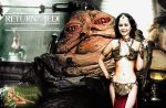 Wonder Woman as Princess Leia with Jabba The Hutt by c-edward