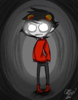 Hollow Eyes and a Red sweater by Ayikka