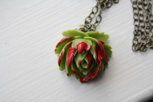 Splattered Zombie Green Cabbage Rose Necklace by applepiepinups