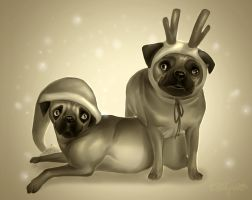 Christmas pugs by Alkven