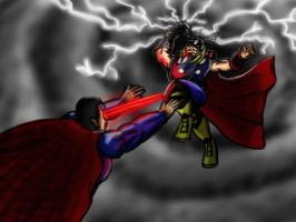 Thor vs Superman by rtfs1