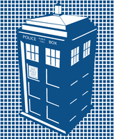TARDIS Monochrome Vector Art (Flat) by ShardsOfBlue