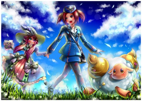 Magileine, Tourguide, and Baaple by emperpep