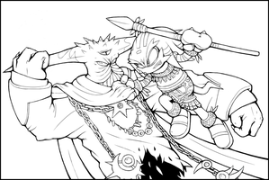 Tyrants - Black Doom vs Pachacamac (Lineart) by Cylent-Nite