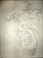 Koi Dragon And Koi Project 1st by ElTri