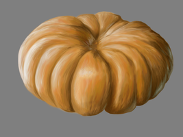 Unfinished Pumpkin Painting by woodythrower