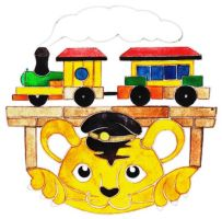 A tiger cub and a locomotive by 6-4-0