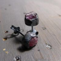 Rustic pink Spinel studs by Jealousydesign