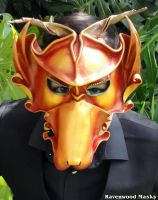 Red Dragon leather masquerade mask by Alyssa-Ravenwood