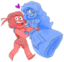 Ruby and Sapphire - Doodle by AccursedAsche