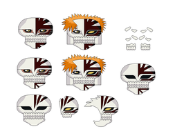 new ichigo more masks by hollowkingking