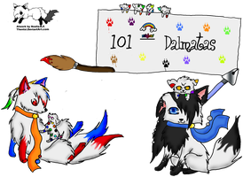 Pin and Pon art trade by DholeSoul