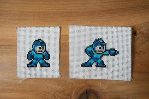 Megaman stand shoot xstitch by flavialee
