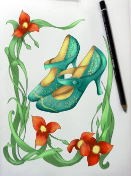 Sample Vintage Inspired Shoes Fashion Coloring by BasakTinli