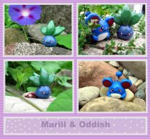 Oddish and Marill by Mechy-Chan