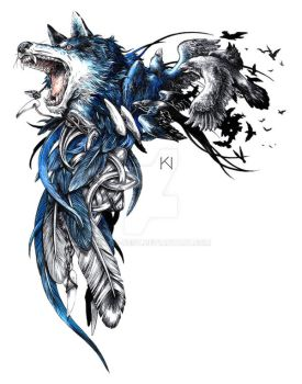 Wolf and raven tattoo design by Kaos-Nest
