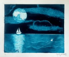 Collagraph Boat and Shark by RachelDS