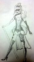 Drawing I did before building Steampunk Harley by Tejnin