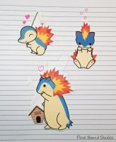 Cyndaquil/Quilava/Typhlosion Stickers and Magnets by pixelboundstudios