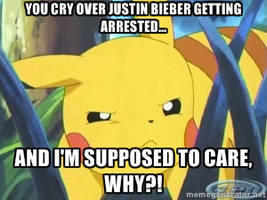 Pikachu Responds To Bieber's Arrest by MrAngryDog
