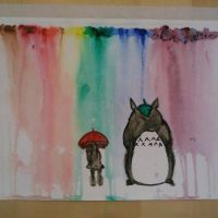 Totoro Watercolor Rain by chefblackbeard