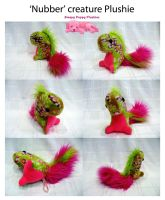 Pink and Lime Nubber Creature Plushie by SPPlushies