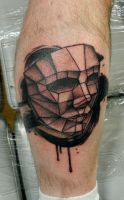 Polygon Face and Brushstrokes by Sirius-Tattoo