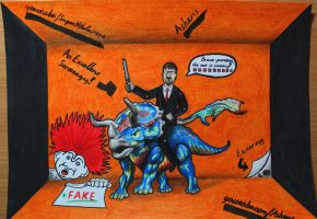 Ashens riding the colourful Triceratops by SuperNikolai1996