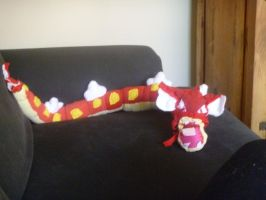 Red Gyarados plushie by Sabretooth-Fox