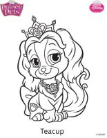 Princess Palace Pets Teacup Coloring Page by SKGaleana