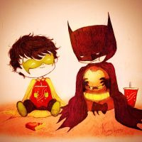 Batman and Burgers by KaylaBeeMarie
