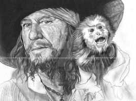 Barbossa - sketch style by lupinemagic
