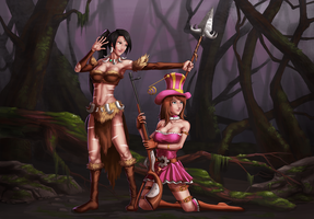 Nidalee and Caitlyn - League of Legends by GenghisKwan