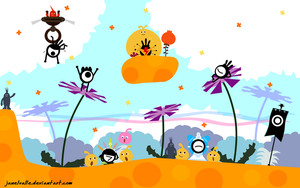 Patapon Visits Locoroco :D by janelvalle