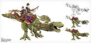 Dinosaur in steam-punk style by Bahryi